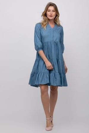 שמלה מבד ג´ינס דק מראה קומות בגזרה רחבה