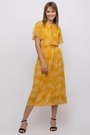 שמלת שיפון הדפס אול אובר עם שרוולי פעמון