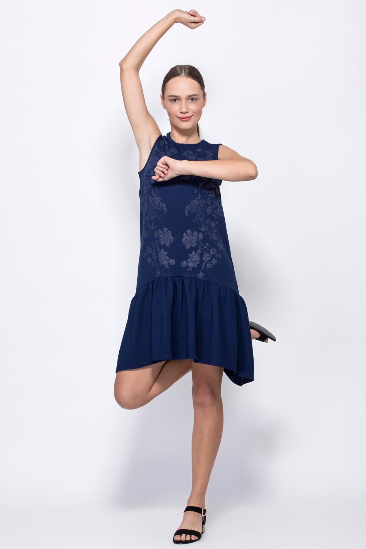 שמלת טקסטורה ללא שרוול עם הדפס