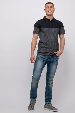 חולצת פולו כותנה בשילוב הדפס פאטרן קונטרסטי