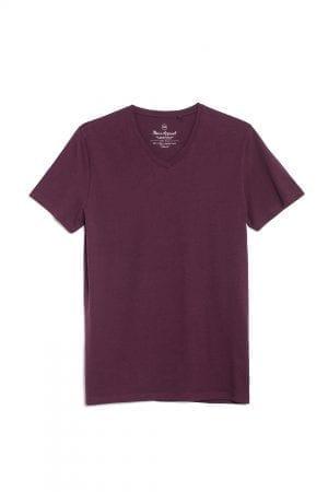 חולצת טי עם צווארון וי, 100% כותנה