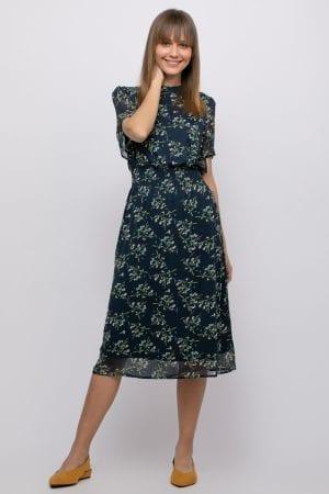 שמלת שיפון פרחונית עם שרוולי פעמון