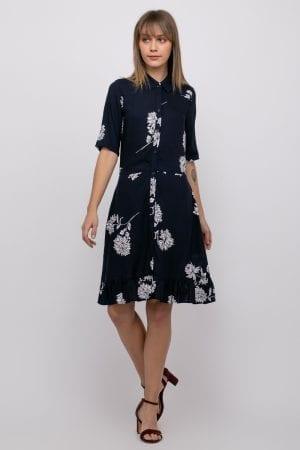 שמלת אריג פרחונית בגזרת חולצת אריגה