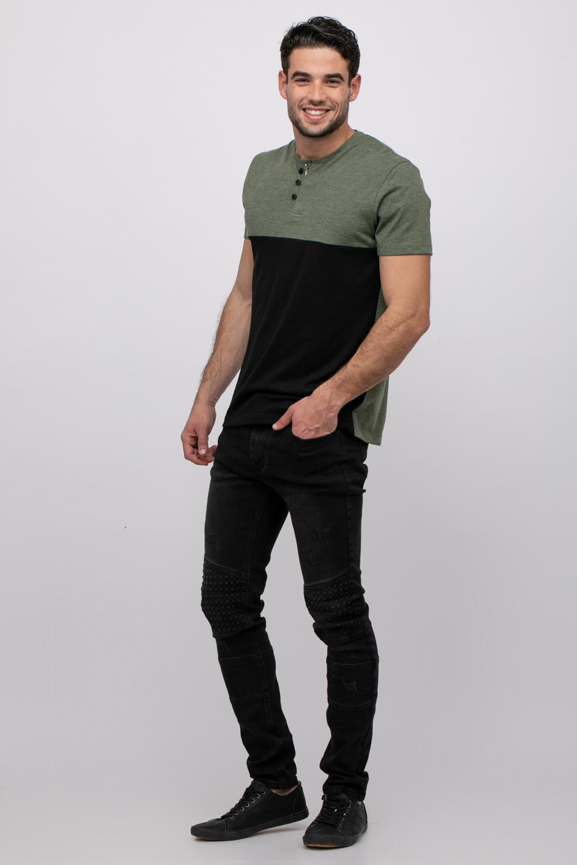 ג'ינס בייקר שחור משופשף סקיני