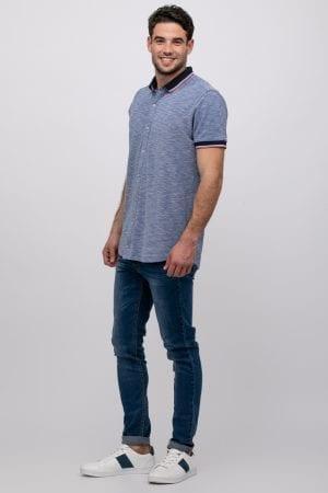 חולצה מכופתרת פיקה טקסטורה בשילוב צווארון ריב