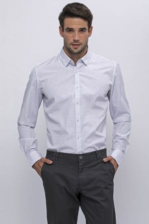 חולצת משבצות גריד קטנות