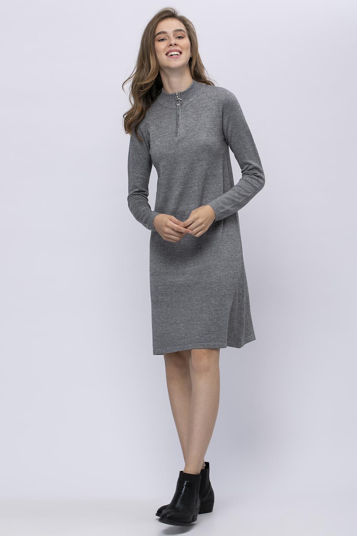 שמלת סריג צווארון גולף עם רוכסן מטאלי
