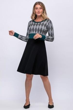 שמלת סריג מעוינים