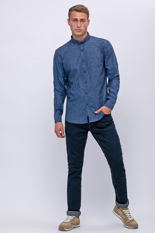 ג'ינס בסיס כחול כהה חלק בגזרה צרה