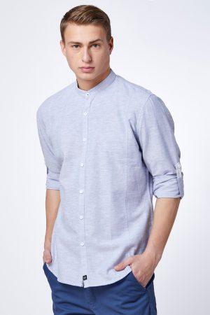 חולצה מכופתרת פשתן עם צווארון סיני