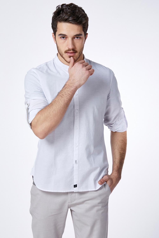 חולצת פשתן פסים עם צווארון סיני