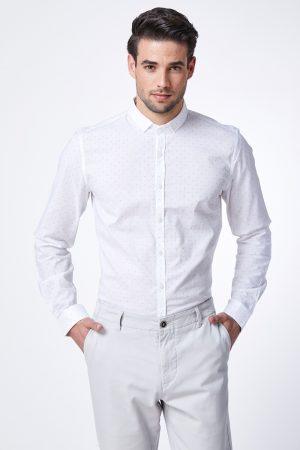חולצה מכופתרת כותנה עם הדפס משולשים קטנים