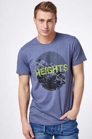 חולצת T הדפס הרים עגול