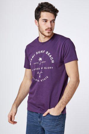 חולצת טי הדפס טקסט עגול