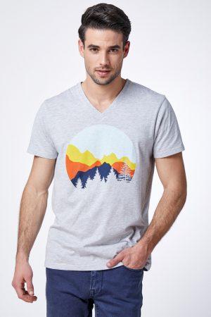 חולצת טי הדפס נוף צבעוני