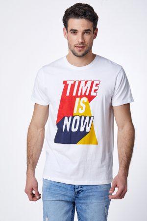 חולצת טי הדפס טיפוגרפי צבעוני
