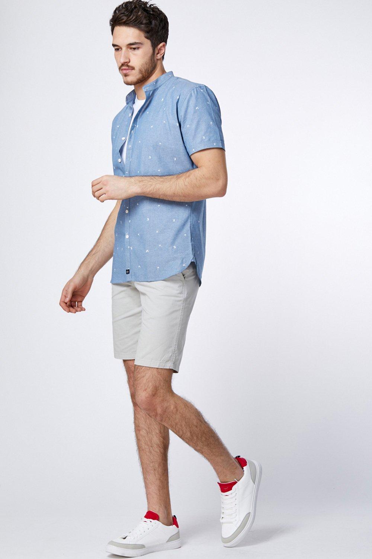 חולצה דמוי ג'ינס עם הדפס דקלים וצווארון סיני