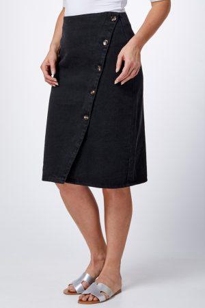 חצאית ג'ינס כפתורים באלכסון
