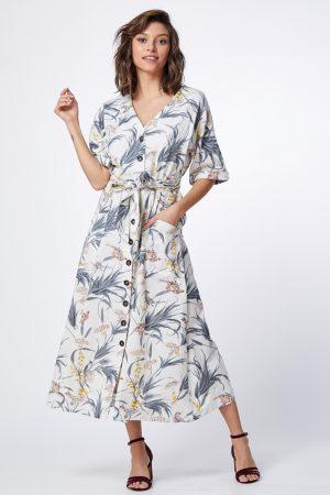 שמלת פשתן מודפסת