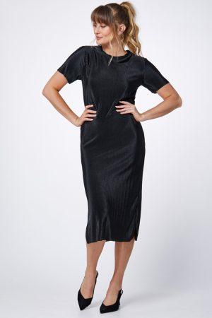 שמלת פליסה מטאלית