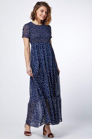 שמלת שיפון נקודות