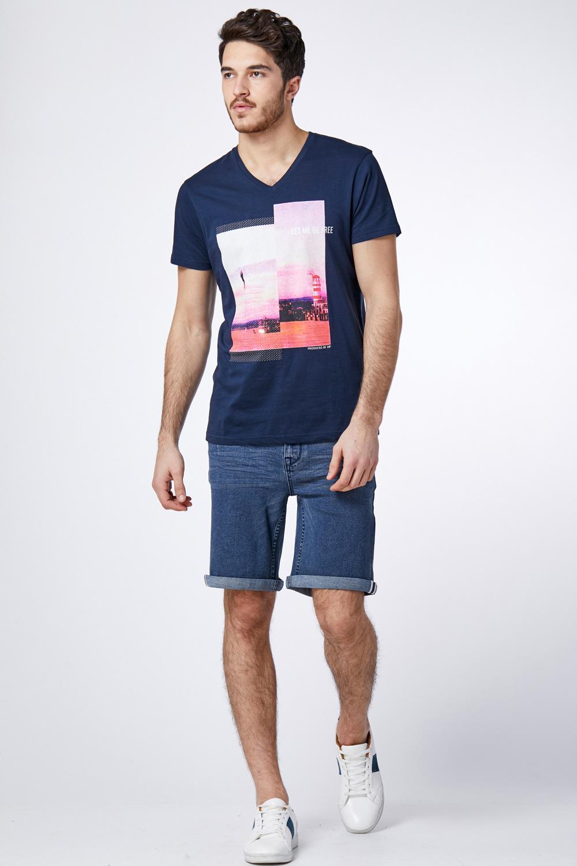 מכנס ברמודה ג'ינס כחול