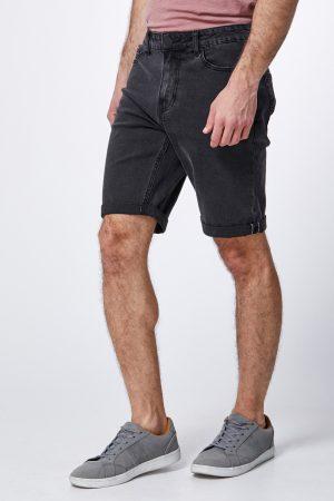 מכנס ברמודה ג'ינס שחור משופשף