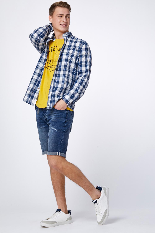 מכנס ברמודה ג'ינס כחול קרעים