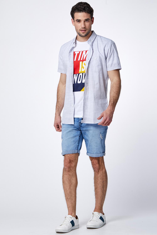 מכנס ברמודה ג'ינס כחול בהיר קרעים