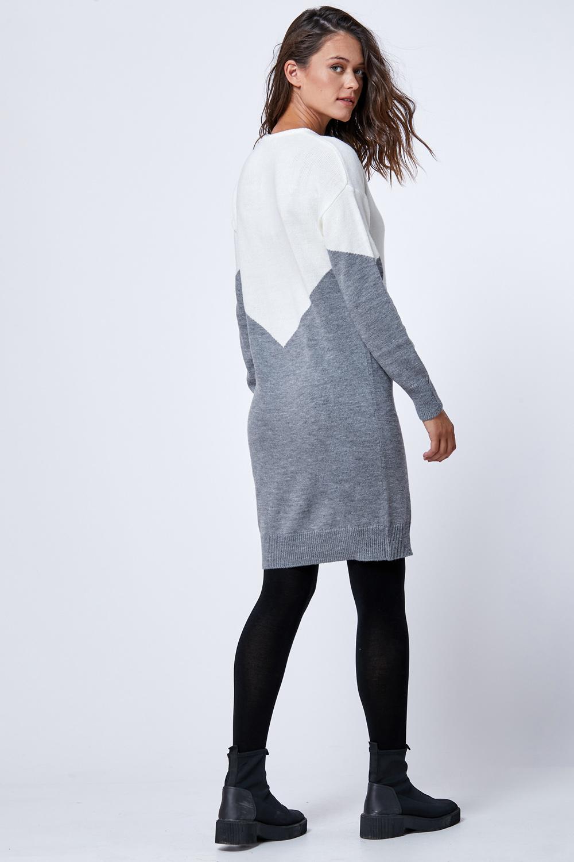 שמלת סריג  אפור לבן