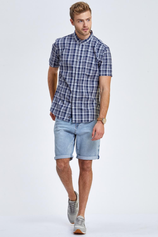 חולצה משובצת כחול אפור