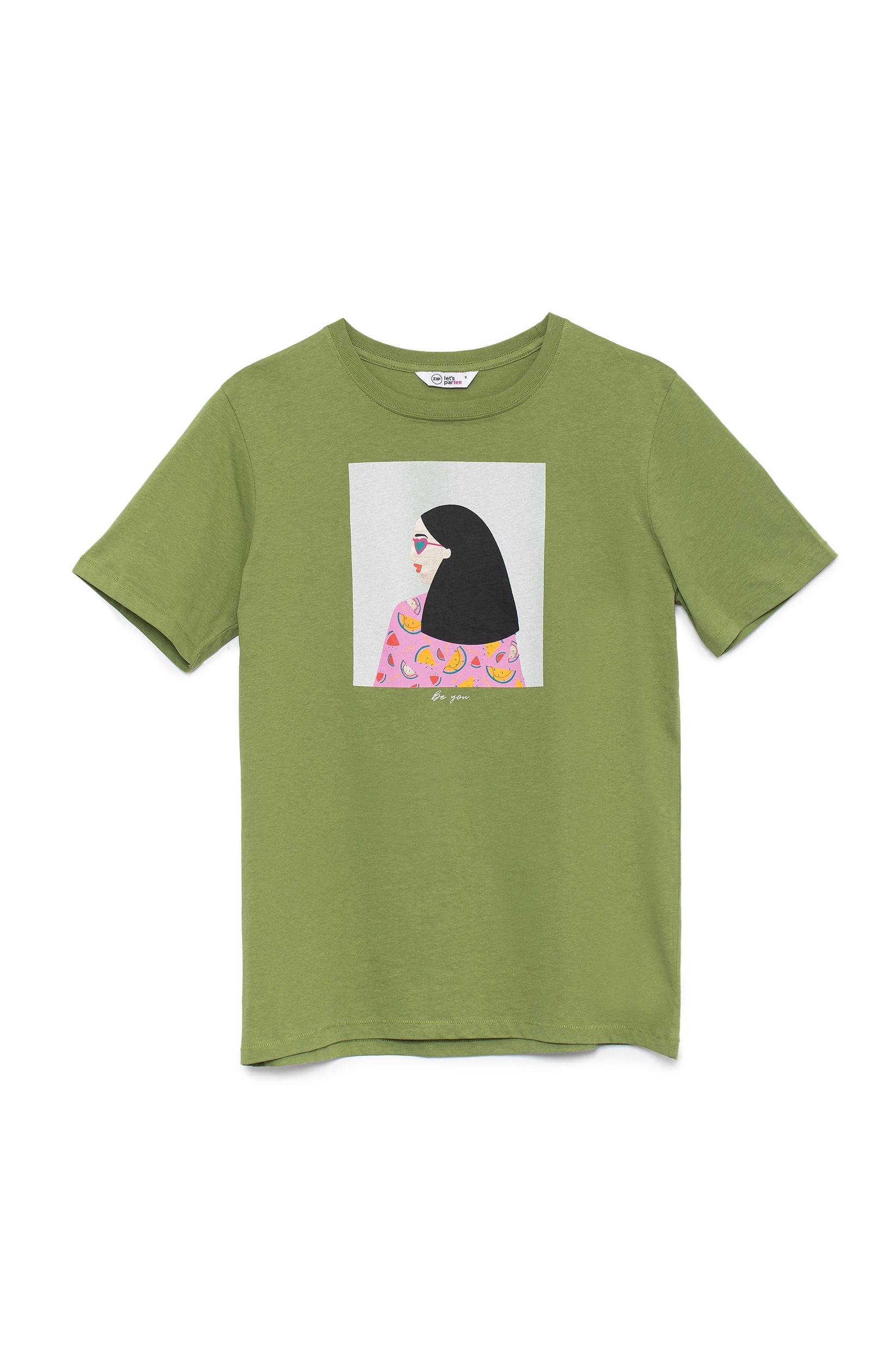 חולצת טי הדפס אישה ואבטיחים