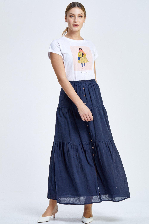 חצאית מקסי עם כפתורים