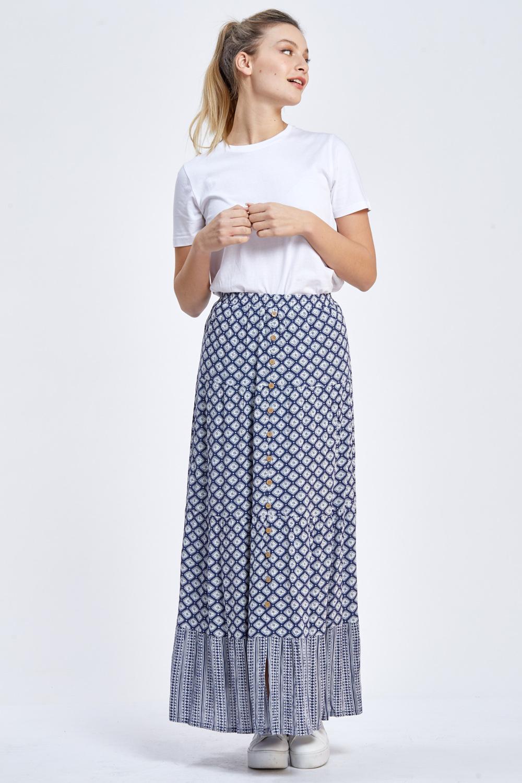 חצאית מקסי שני דפוסים