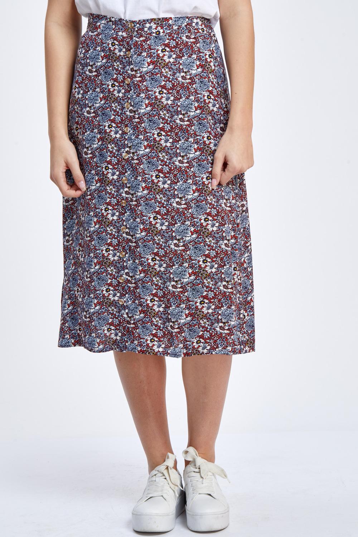 חצאית מידי מודפסת עם כפתורים