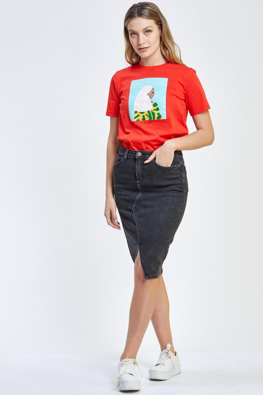 חצאית ג`ינס חלקה