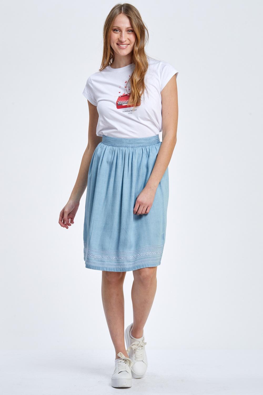 חצאית ג'ינס רחבה בשילוב רקמות