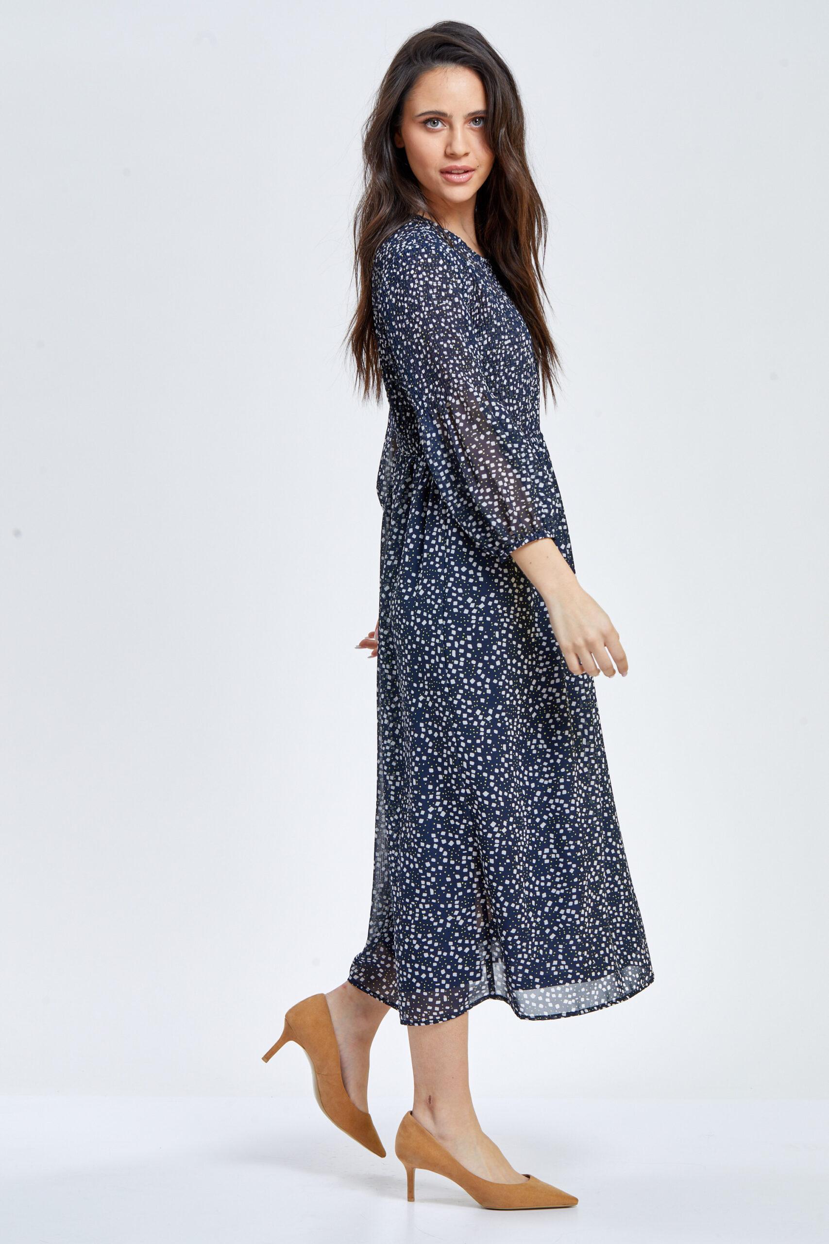 שמלת שיפון דפוס ריבועים ונקודות