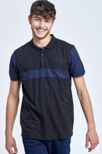 חולצת פולו פיקה קולור בלוק 3 צבעים