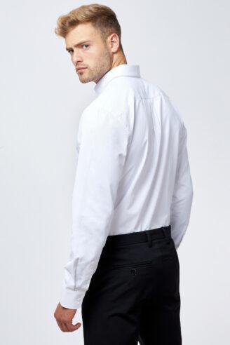 חולצה מכופתרת טקסטורת DOBBY לבן