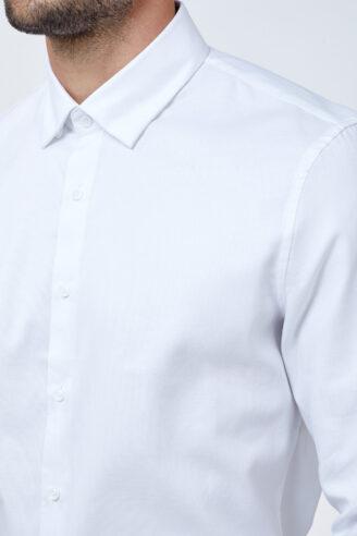 חולצה מכופתרת בד פרמיום לבן טוויל
