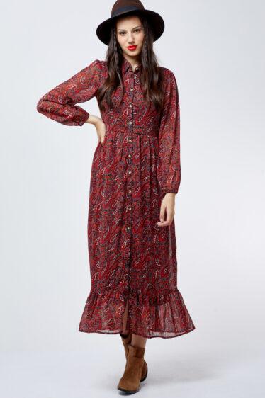 שמלת  פייזלי שיפון