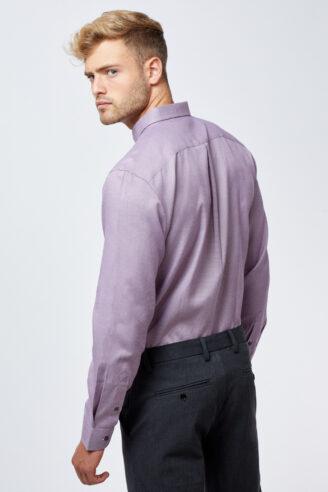 חולצה מכופתרת אלגנטית טקסטורה סגולה