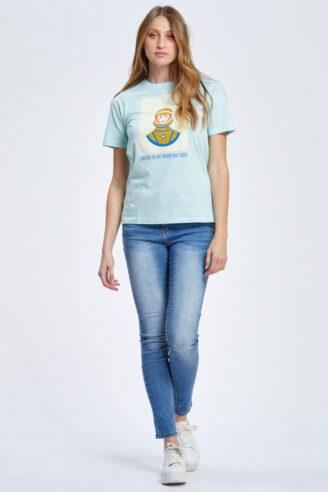 חולצת טי הדפס אסטרונאוטית