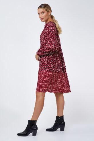 שמלת עיגולים בשני דפוסים
