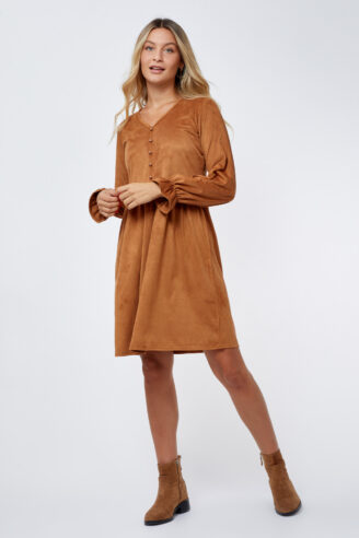 שמלת סוויד קאמל