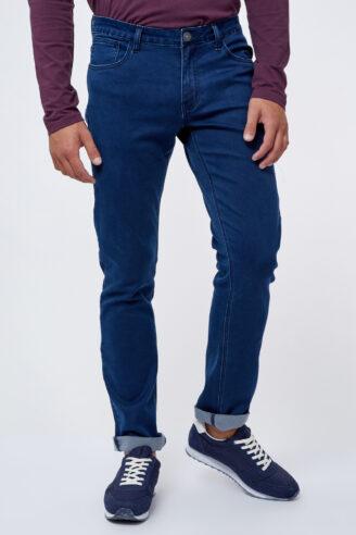 ג'ינס כחול כהה בסיסי גזרה ישרה/רחבה