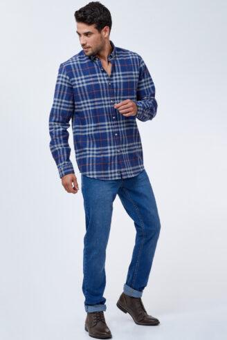 חולצת פלנל עבה משבצות בגזרה רחבה