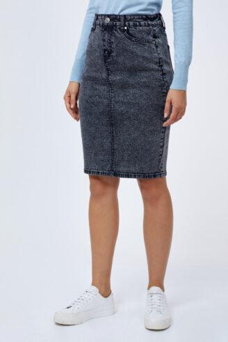 חצאית ג'ינס בייסיק משופשפת