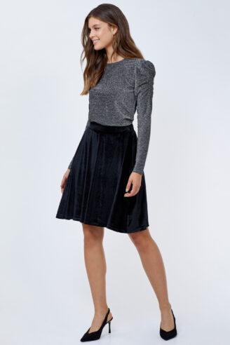 חצאית סקייטר קטיפה